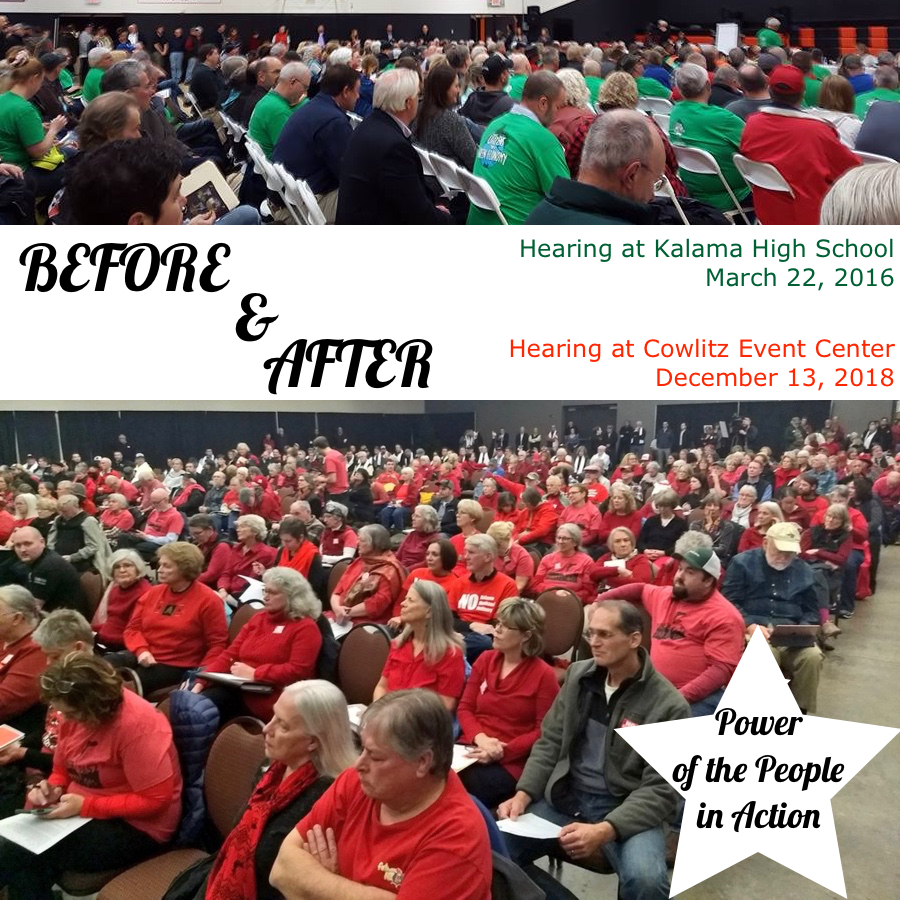 Before and after photos. Success of campaign from room of green jerseys March 22, 2016, to sea of red shirts December 13, 2019.